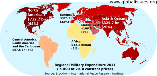 Les Depenses Militaires Mondiales Periode 2002 A 2012